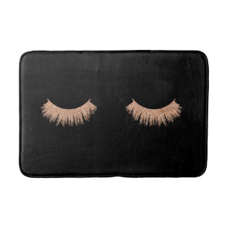 Stylish Black Rose Gold Eyelashes Bath Mat