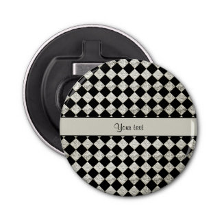 Stylish Black & Silver Glitter Checkers Bottle Opener