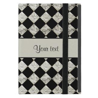 Stylish Black & Silver Glitter Checkers Case For iPad Mini