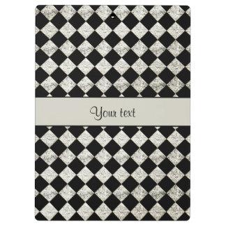 Stylish Black & Silver Glitter Checkers Clipboards