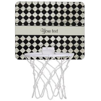 Stylish Black & Silver Glitter Checkers Mini Basketball Hoop