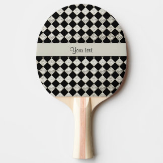 Stylish Black & Silver Glitter Checkers Ping Pong Paddle