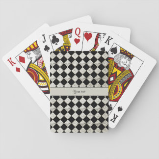 Stylish Black & Silver Glitter Checkers Playing Cards