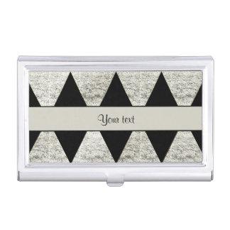 Stylish Black & Silver Glitter Diamonds Business Card Holder