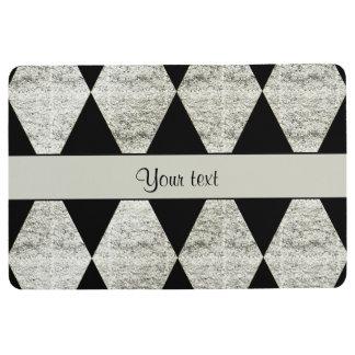 Stylish Black & Silver Glitter Diamonds Floor Mat