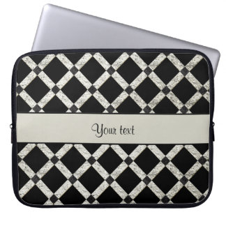 Stylish Black & Silver Glitter Squares Laptop Computer Sleeves