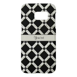 Stylish Black & Silver Glitter Squares Samsung Galaxy S7 Case