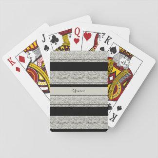 Stylish Black & Silver Glitter Stripes Playing Cards