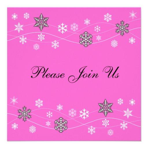 Stylish Black Snowflakes Invitation Template