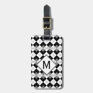 Stylish Black, White and Grey Argyle Pattern Luggage Tag