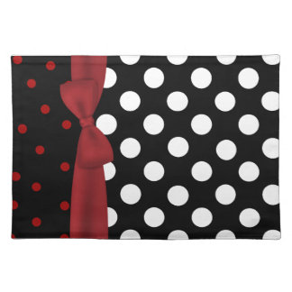 Stylish Black, White, and Red Polka Dot Place mat