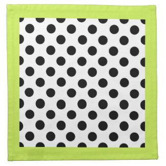 Stylish Black, White, & Chartreuse Polka Dot Napkin