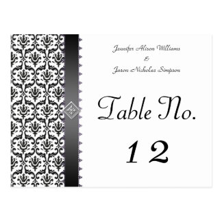 Stylish Black & White Damask Custom Table Number Postcard