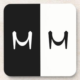 Stylish Black & White Double Initialed Monogram Coaster