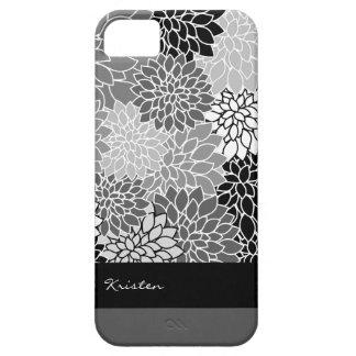 Stylish Black & White Floral Pattern Custom iPhone 5 Case