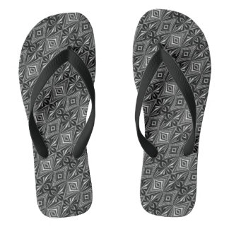 Stylish Black White Grey Pattern Flip Flops