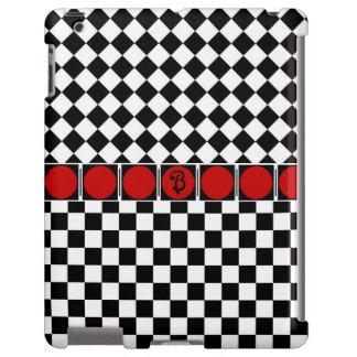 Stylish Black White Half Diamond Checkers red band