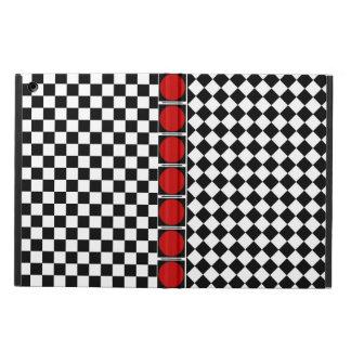 Stylish Black White Half Diamond Checkers red band iPad Air Cover