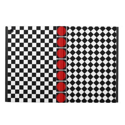 Stylish Black White Half Diamond Checkers red band iPad Air Cases