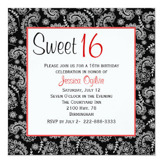 "Stylish Black & White Paisley Sweet 16 Birthday 5.25"" Square Invitation Card"