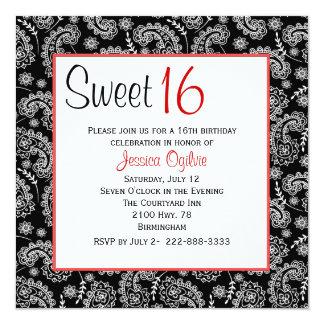 "Stylish Black & White Paisley Sweet 16 Birthday 5.25"" Square Invitation Card"