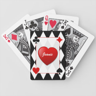 Stylish Black, White, & Red Card Suits Card Deck