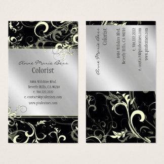 Stylish black white silver + tone  business cards