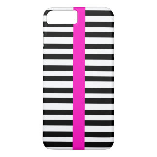 Stylish Black White Stripes Girly Hot Pink Stripe iPhone 8 Plus/7 Plus Case