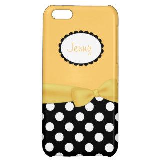 Stylish Black, White, & Yellow Girly Custom iPhone 5C Case