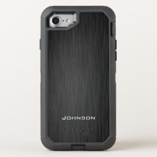 Stylish Black Wood Pattern Monogram Name OtterBox Defender iPhone 8/7 Case