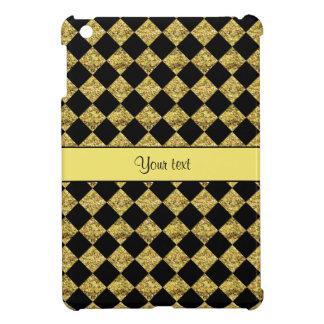 Stylish Black & Yellow Glitter Checkers iPad Mini Covers