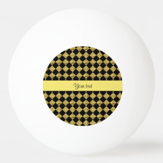 Stylish Black & Yellow Glitter Checkers Ping Pong Ball