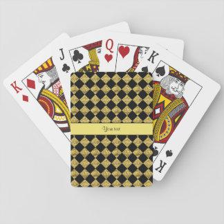 Stylish Black & Yellow Glitter Checkers Playing Cards