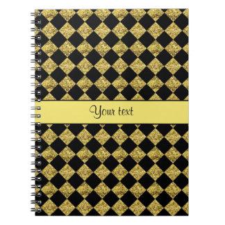 Stylish Black & Yellow Glitter Checkers Spiral Notebook