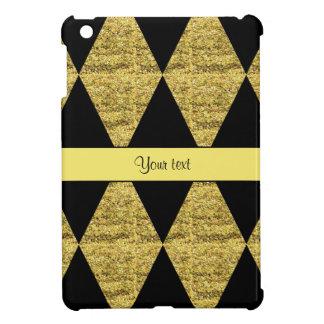 Stylish Black & Yellow Glitter Diamonds Cover For The iPad Mini
