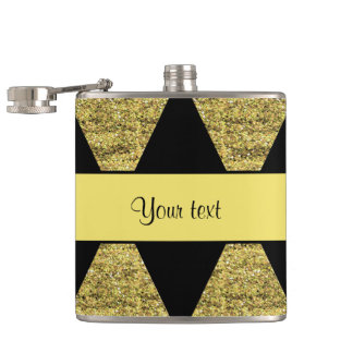 Stylish Black & Yellow Glitter Diamonds Flask