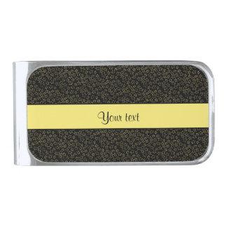Stylish Black & Yellow Glitter Mini Stars Silver Finish Money Clip