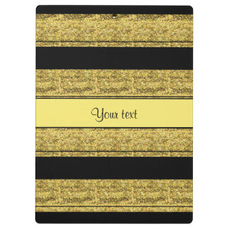 Stylish Black & Yellow Glitter Stripes Clipboards