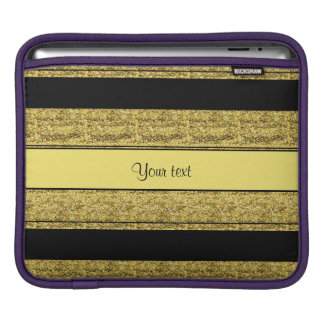 Stylish Black & Yellow Glitter Stripes iPad Sleeve