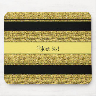 Stylish Black & Yellow Glitter Stripes Mouse Pad