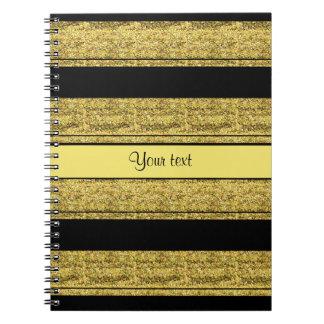 Stylish Black & Yellow Glitter Stripes Notebook