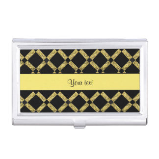 Stylish Black & Yellow Squares Business Card Holder