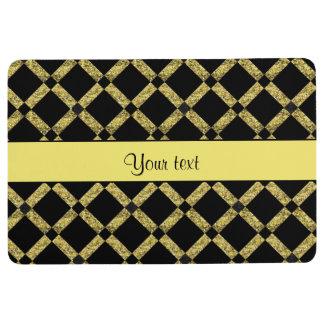 Stylish Black & Yellow Squares Floor Mat