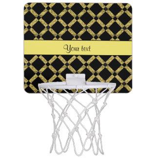 Stylish Black & Yellow Squares Mini Basketball Hoop