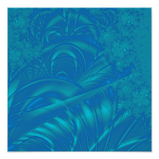 Stylish Blue Abstract Pattern. Fractal Art. Poster