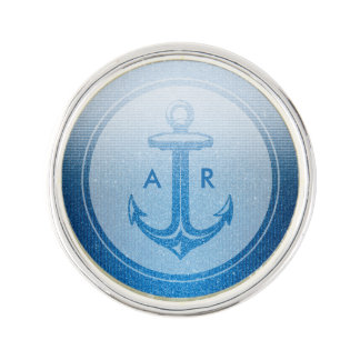 Stylish blue anchor with initials | Nautical Gifts Lapel Pin