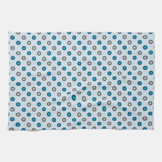 Stylish Blue and Silver Polka Dot Pattern Kitchen Towel