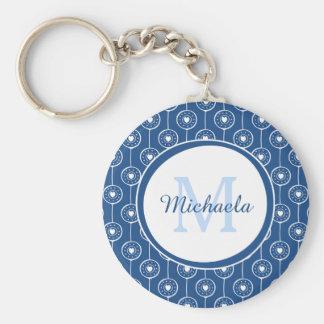 Stylish Blue and White Hearts Monogram With Name Keychain
