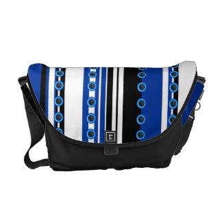 Stylish blue black white pattern messenger bag