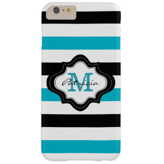 Stylish Blue Black White Stripes  Monogrammed Barely There iPhone 6 Plus Case
